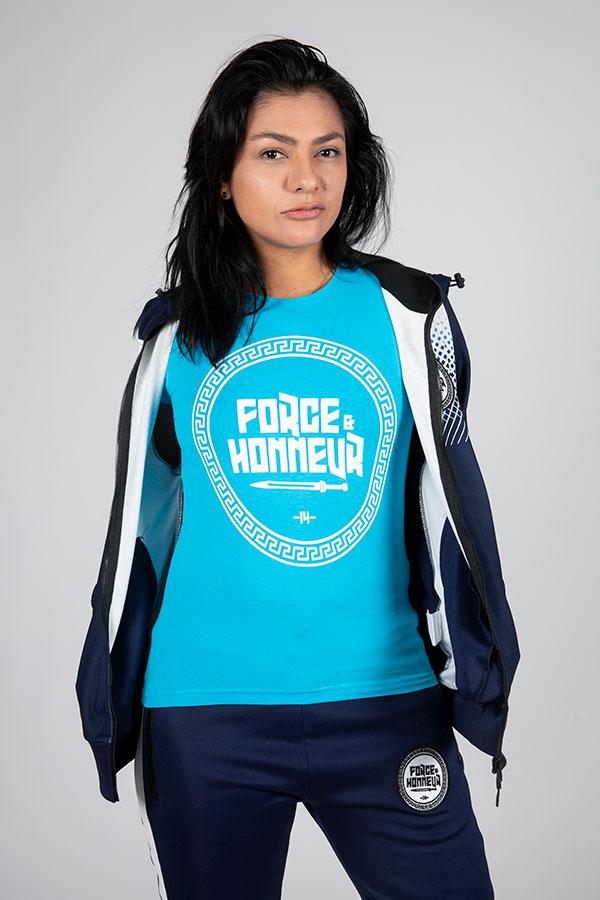 T-shirt femme bleu ciel Logo 4